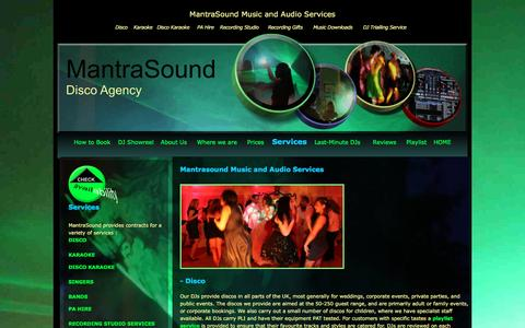 Screenshot of Services Page beehouse.co.uk - MantraSound - DJs, Karaoke and Disco for Weddings, Corporate Events, Parties - captured Sept. 26, 2016