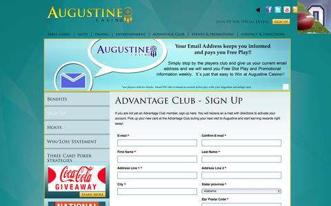 Screenshot of Signup Page augustinecasino.com - Sign Up  | Augustine Casino - (760) 391-9500 - captured Sept. 30, 2014