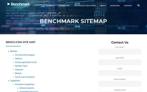 Screenshot of Site Map Page bench.com - Bench Site Map - captured March 12, 2019