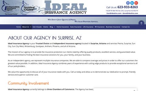 Screenshot of About Page idealins.com - Insurance Agency - Surprise, AZ - Ideal Insurance Agency - captured Oct. 1, 2018