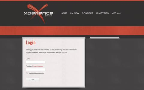 Screenshot of Login Page xchurch.tv - Login - xperiencechurch - captured Oct. 3, 2014