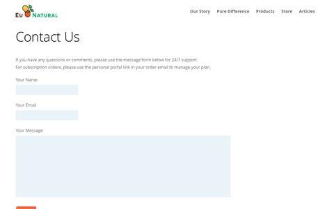 Screenshot of Contact Page eunatural.com - Contact Us - captured May 21, 2017