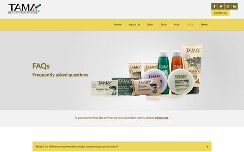 Screenshot of FAQ Page tamacosmetics.com - FAQ - captured July 13, 2018