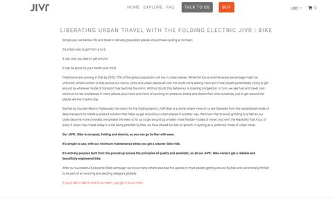 Screenshot of About Page jivrbike.com - About folding electric JIVR | Bike - Electric Bike - captured Nov. 26, 2016