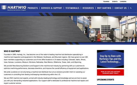Screenshot of Home Page hartwiginc.com - Hartwig, the largest CNC machine tool distributor in the Midwest, Southwest & Mountain Regions. - captured July 16, 2018