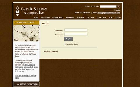 Screenshot of Login Page garysullivanantiques.com - Login - captured Oct. 2, 2014