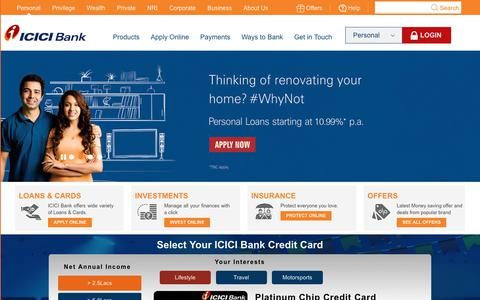 Screenshot of Home Page icicibank.com - Personal Banking, Online Banking Services - ICICI Bank - captured Nov. 28, 2017