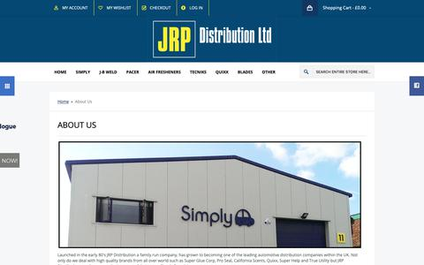 Screenshot of About Page jrpdistribution.co.uk - About Us - captured Dec. 9, 2018