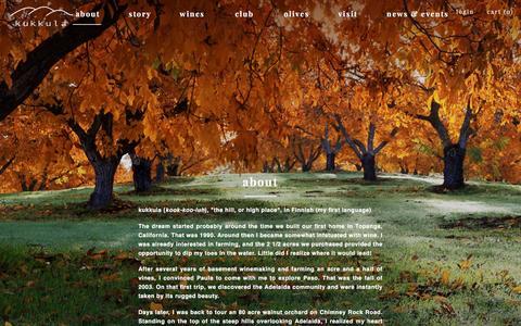 Screenshot of About Page kukkulawine.com - kukkula - about - captured Nov. 27, 2016