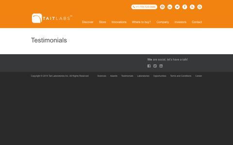 Screenshot of Testimonials Page taitlabs.ca - Testimonials | TAIT LABS - Modernizing Traditional Herbal Medicines - captured Nov. 3, 2014