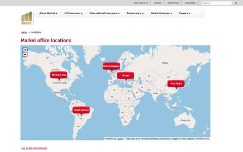Screenshot of Locations Page markelcorp.com - Markel Corp - captured Oct. 4, 2014