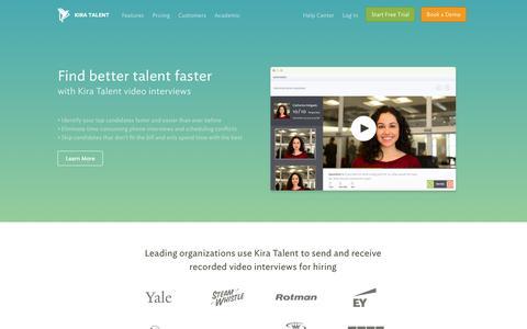 Screenshot of Login Page kiratalent.com - Online Video Interviews | Video Interviewing Made Easy - Kira Talent - captured Oct. 28, 2014
