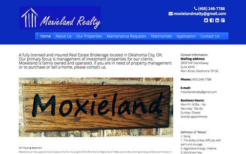 Screenshot of Home Page moxieland.com - Moxieland LLC - Fully licensed Real Estate Brokerage located in Oklahoma City, Oklahoma - captured Oct. 9, 2014
