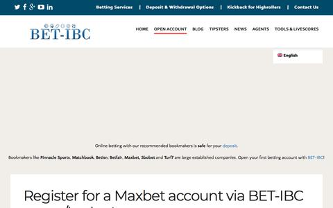 Screenshot of Signup Page bet-ibc.com - Open your Maxbet account via BET-IBC agent/broker! - captured July 31, 2018