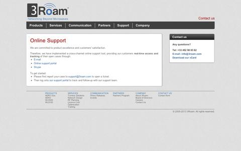 Screenshot of Support Page 3roam.com - 3Roam - Online Support - captured Sept. 10, 2014