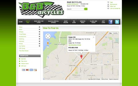 Screenshot of Contact Page Maps & Directions Page bbbicycles.com - Locations - B&B Bicycles Cedar Hill TX 972-293-3100 Dallas Area's Finest Bicycles Store - captured Oct. 22, 2014