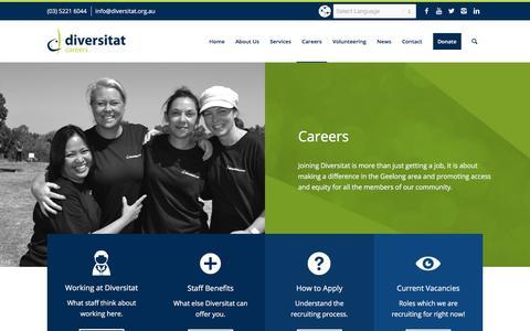 Screenshot of Jobs Page diversitat.org.au - Careers - Diversitat - captured Aug. 7, 2018