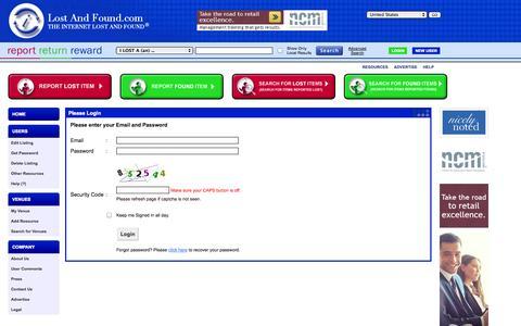 Screenshot of Login Page lostandfound.com - LostAndFound.com: Woodbridge's online lost and found resource. - captured Oct. 30, 2014