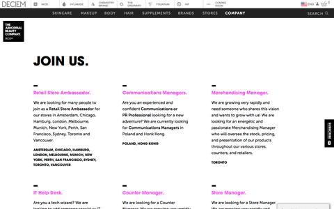 Screenshot of Jobs Page deciem.com - DECIEM | Join Us - captured Sept. 23, 2019