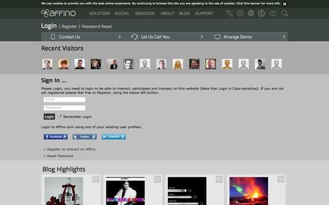 Screenshot of Login Page affino.com - Login - captured Oct. 10, 2014