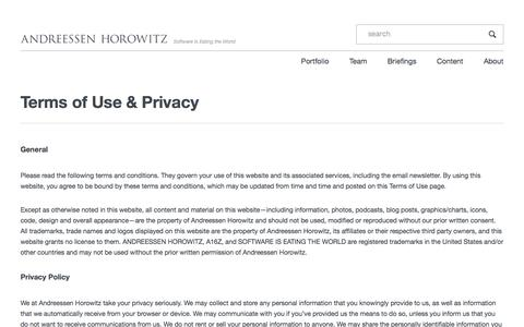 Terms of Use & Privacy – Andreessen Horowitz