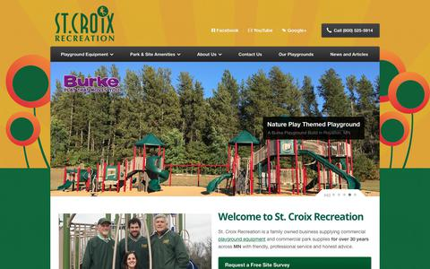 Screenshot of Home Page stcroixrec.com - St. Croix Recreation Minnesota Playground Equipment - captured Oct. 20, 2018