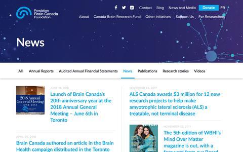 Screenshot of Press Page braincanada.ca - News Archives - Brain Canada - captured Aug. 3, 2018