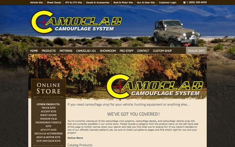 Screenshot of Products Page camoclad.com - Camouflage Vinyl Products - captured Oct. 1, 2014