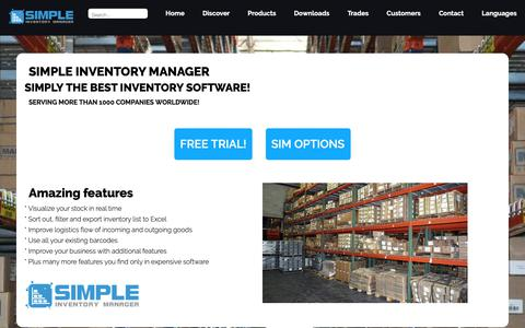 Screenshot of Home Page simple-inventory-manager.com - SIM Simple Inventory Managemer:  The best Inventory Software for Windows - captured Nov. 27, 2018