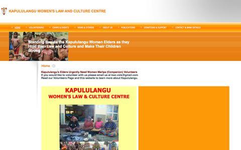 Screenshot of Home Page kapululangu.org - KAPULULANGU WOMEN'S LAW AND CULTURE CENTRE - Home - captured Oct. 6, 2014