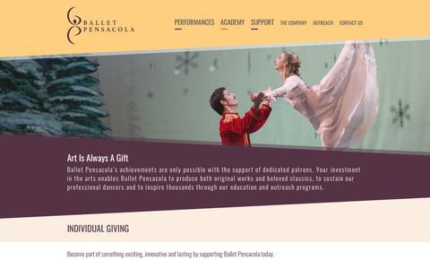 Screenshot of Support Page balletpensacola.com - Ballet Pensacola - captured April 28, 2017