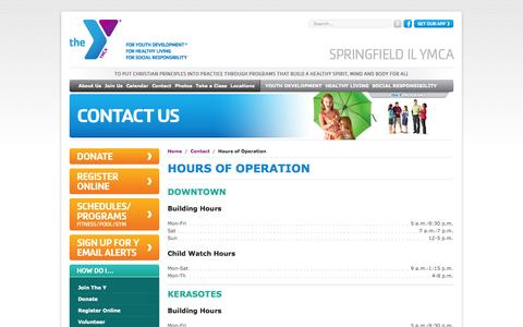 Screenshot of Hours Page springfieldymca.org - Hours of Operation | YMCA of Springfield, IL - captured Oct. 7, 2014