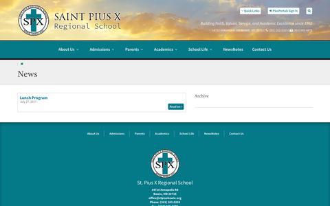 Screenshot of Press Page stpiusbowie.org - St. Pius X Regional School :: News - captured Feb. 24, 2018