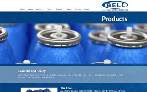 Screenshot of Products Page bellinternationallabs.com - Products | Bell International Laboratories - captured Nov. 3, 2014