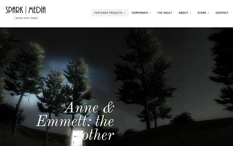 Screenshot of About Page sparkmedia.org - Anne & Emmett: the other - Spark Media - captured Feb. 27, 2016