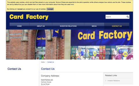 Screenshot of Contact Page cardfactoryinvestors.com - Contact Us – Card Factory - captured Dec. 30, 2016