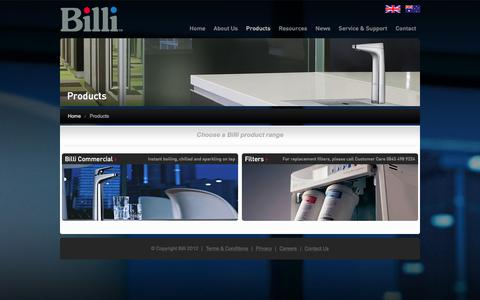 Screenshot of Products Page billi-uk.com - Billi Product Range: Commercial, Washroom, Home and Filter Products - captured Feb. 7, 2016