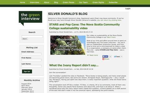 Screenshot of Blog thegreeninterview.com - SILVER DONALD'S BLOG - The Green Interview - captured Oct. 9, 2014