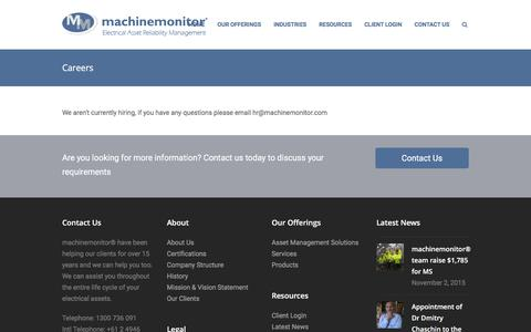 Screenshot of Jobs Page machinemonitor.com - Careers - machinemonitor® - captured Feb. 2, 2016