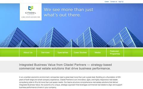 Screenshot of Home Page citadelpartnersus.com - Citadel Partners | A Real Estate Advisory Firm | A Real Estate Advisory Firm - captured Oct. 2, 2014
