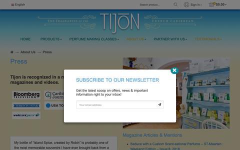 Screenshot of Press Page tijon.com - Press - Tijon - captured Oct. 20, 2018