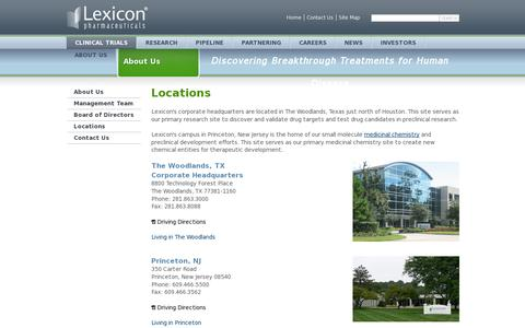 Screenshot of Locations Page lexpharma.com - Locations | About Us - captured July 20, 2014