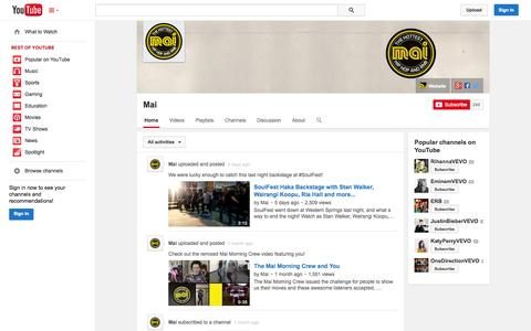 Screenshot of YouTube Page youtube.com - Mai  - YouTube - captured Nov. 1, 2014