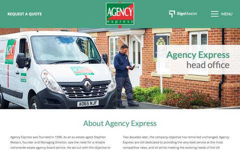 Screenshot of About Page agencyexpress.co.uk - About Us - Estate Agency Board Erectors Nationwide | Agency Express - captured Oct. 7, 2017