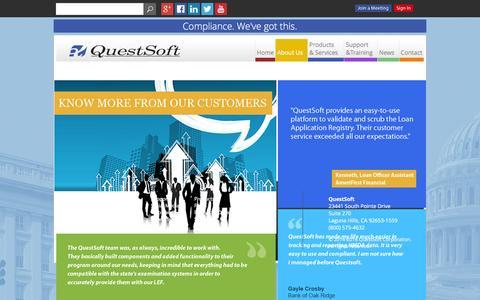 Screenshot of Testimonials Page questsoft.com - Testimonials - captured July 19, 2016