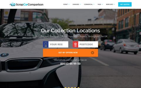 Screenshot of Locations Page scrapcarcomparison.co.uk - Scrap Car Comparison – Our UK Wide Collection Locations - captured Nov. 12, 2018