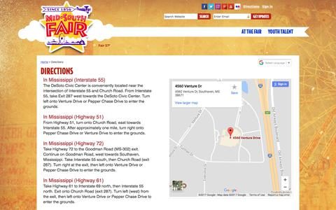 Screenshot of Maps & Directions Page midsouthfair.com - Directions - captured Oct. 18, 2017