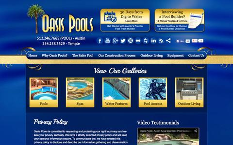 Screenshot of Privacy Page oasispools.net - Austin Pool Builder | Privacy Policy | Oasis Pools - captured Oct. 27, 2014