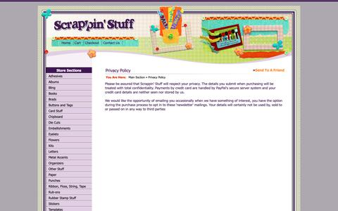 Screenshot of Privacy Page scrappinstuff.ch - Privacy Policy > Main Section > Scrappin Stuff Scrapbooking and Cards - captured Dec. 3, 2018