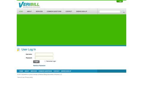 Screenshot of Login Page myveribill.com - User Log In - captured Oct. 26, 2014